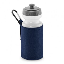navy water bottle and holder with printed name