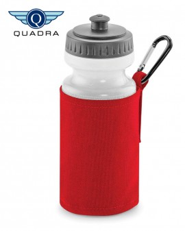 red water bottle and holder with printed name